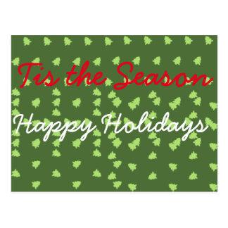 tis la estación buenas fiestas tarjeta postal