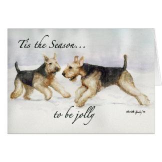 Tis the Season Airedale Dog Art Christmas Card