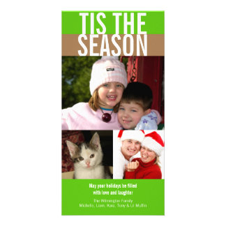 Tis the season bold green brown Christmas greeting Personalized Photo Card