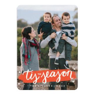 Tis the Season Brush Stroke Holiday Photo Card