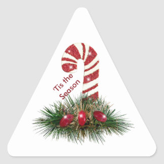 'Tis the Season Candy Cane Triangle Stickers