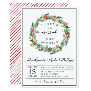 Christmas Wedding Invitations.Tis The Season Christmas Wedding Invitation