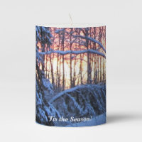 ''Tis the Season Firey Sunset Pillar Candle