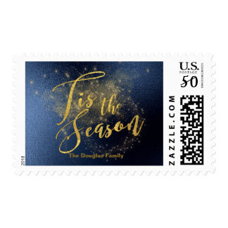 Tis The Season Gold Riddled Midnight Sky Christmas Postage