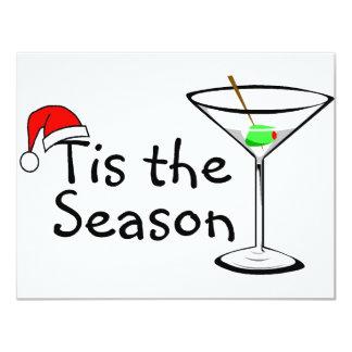 Tis The Season Martini Drink Christmas 4.25x5.5 Paper Invitation Card