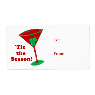 `Tis the Season Martini Gift Tag Stickers Shipping Labels