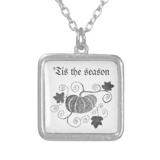 'Tis The Season Pumpkin Silver Plated Necklace