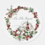Tis The Season Round Stickers