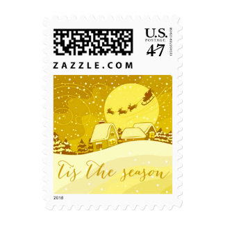 Tis the Season Santa Reindeer Sleigh | yellow Postage