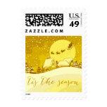 Tis the Season Santa Reindeer Sleigh   yellow Postage Stamp