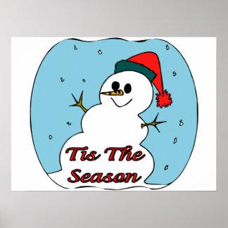 Tis The Season Snowman Print