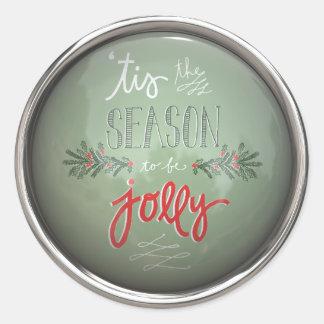 Tis The Season To Be Jolly Classic Round Sticker