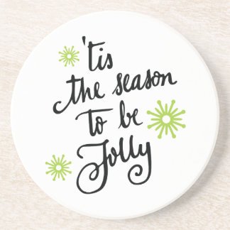 'tis the Season to be Jolly   Lime Green Drink Coaster