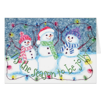 Tis The Season To Be Jolly Snowmen Watercolor Card