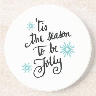 Tis the Season to be Jolly   turquoise Drink Coaster