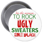 'tis the season to rock ugly sweaters 4 inch round button