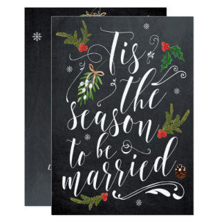 Tis the season wedding invitation christmas holly