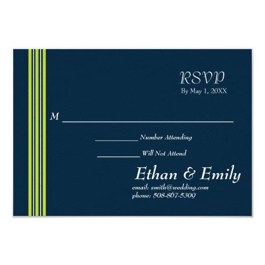 Tisbury - Navy Green White - RSVP Cards