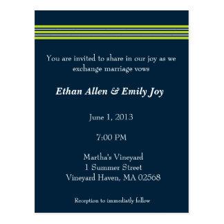 Tisbury - Navy Green White - Wedding Invitation Postcard