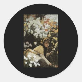Tissot Chrysanthemums Round Sticker