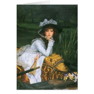 Tissot: Señora joven en un barco Tarjeta De Felicitación