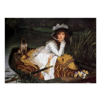 Tissot young lady and pug antique painting poster