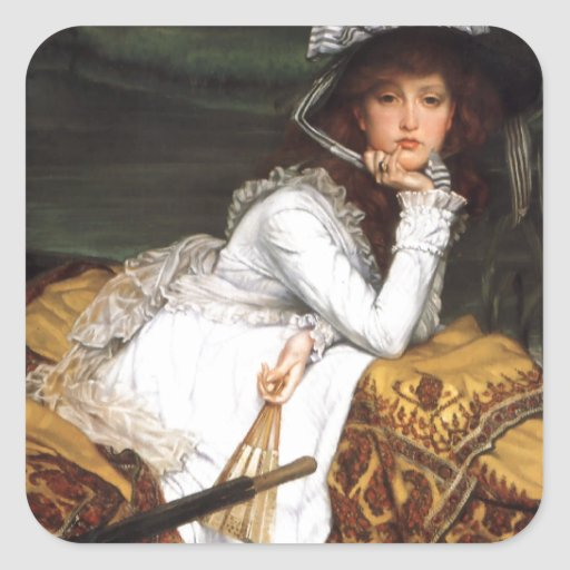Tissot young lady and pug antique painting square sticker