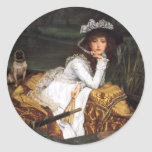 Tissot young lady and pug antique painting classic round sticker