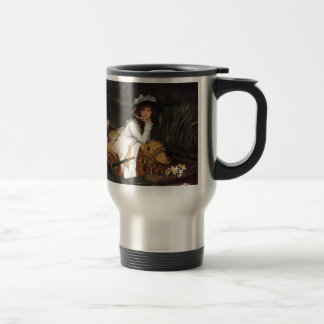 Tissot young lady and pug antique painting travel mug