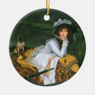 Tissot: Young Lady in a Boat Ceramic Ornament