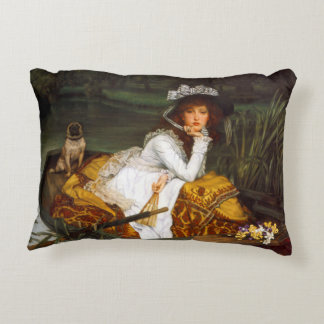 "Tissot ""Young Lady in a Boat"" Decorative Pillow"