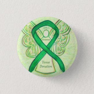 Tissue Donation Awareness Ribbon Angel Buttons