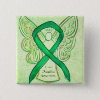 Tissue Donation Green Awareness Ribbon Angel Pins