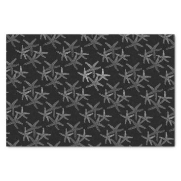 Beach Themed Tissue gift paper  starfish snowflake silver grey
