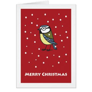 Tit azul en tarjeta de Navidad de la nieve