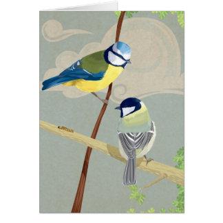 Tit azul y grande tarjeta de felicitación