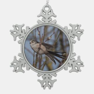 Tit Largo-atado Adorno De Peltre En Forma De Copo De Nieve