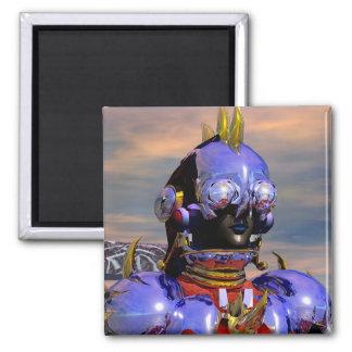 TITAN CYBORG PORTRAIT Blue Science Fiction,Scifi 2 Inch Square Magnet