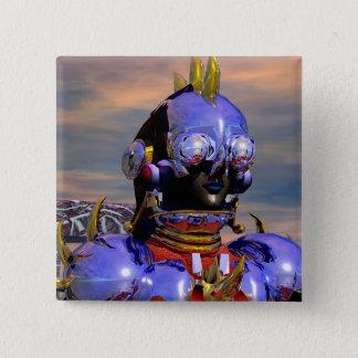 TITAN CYBORG PORTRAIT Blue Science Fiction,Scifi Pinback Button