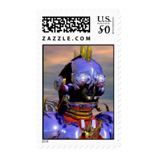 TITAN CYBORG PORTRAIT Blue Science Fiction,Scifi Postage