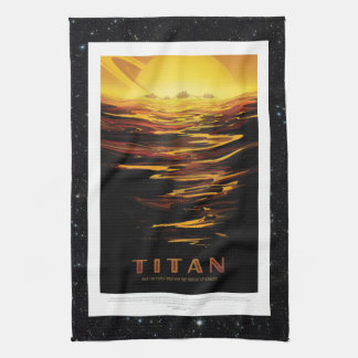 Titan Moon of Saturn holiday advert space tourism Hand Towel