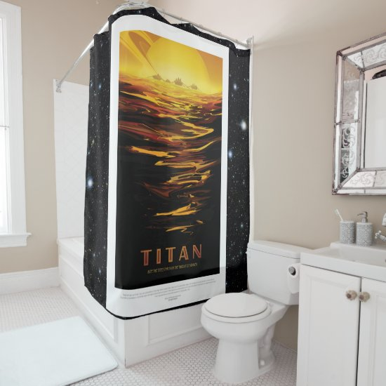 Titan Moon of Saturn vacation advert space tourism Shower Curtain