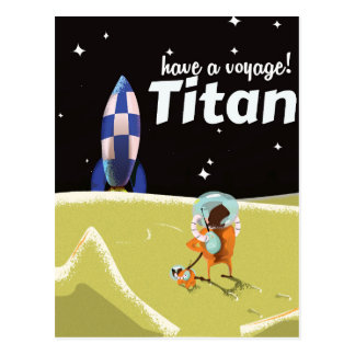 Titan vintage Science fiction travel poster Postcard