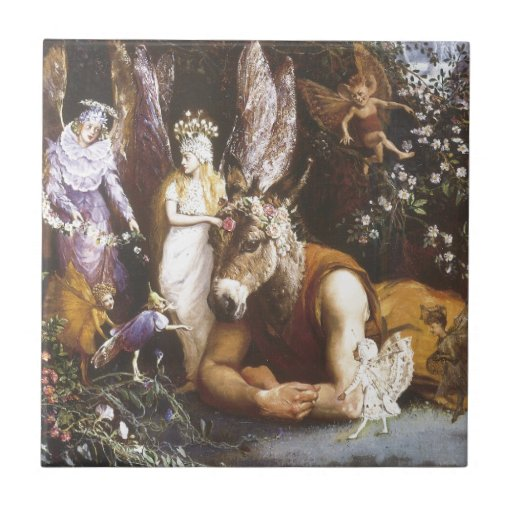 Titania and Bottom,Midsummer Night's Dream Tile