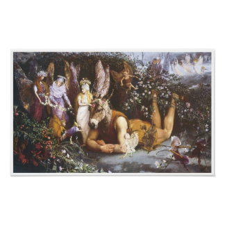 Titania and Bottom, Vintage Fairy Painting Poster