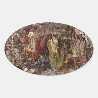 Titania de Richard Dadd y pegatina del óvalo de