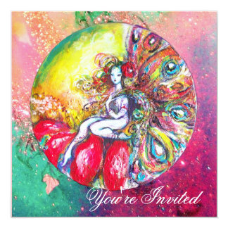 TITANIA , pink yellow  blue green red sparkles Card