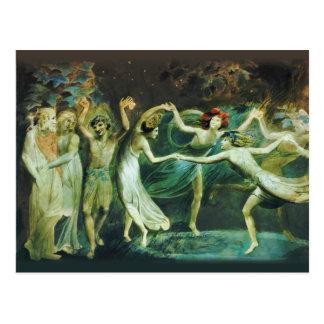 Titania y duende malicioso de Guillermo Blake Postal
