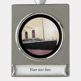 Titanic at Sea Silver Plated Banner Ornament