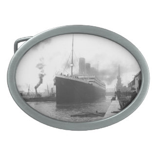 Titanic at the docks of Southampton Oval Belt Buckle